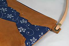 Kabelky - Modrotlačová kabelka Lea kožená 4 - 12318250_