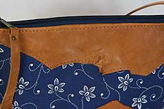 Kabelky - Modrotlačová kabelka Lea kožená 4 - 12318252_