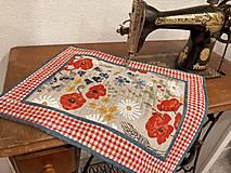 """Úžitkový textil - Ľanové prestieranie """"Litva"""" s motívom čevených makov, technika patchwork, 45x35cm, 6 ks - 12319986_"""