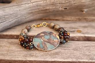 Náramky - Bohemian náramok z minerálov jaspis regalit, tigrie oko, achát - 12318244_