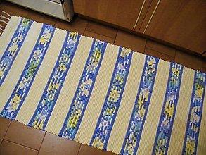 Úžitkový textil - Tkaný koberec svetložlto-tyrkysovo-modrý - 12321525_