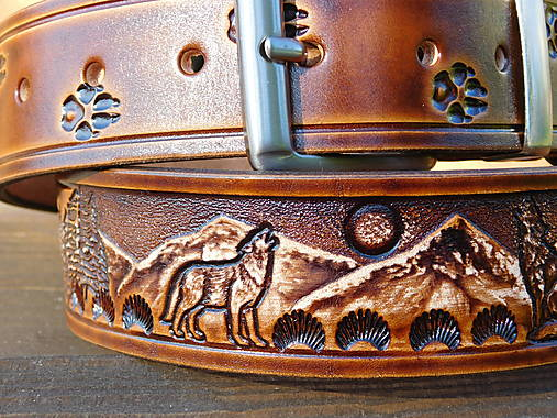 Kožený opasok 4 cm - Vlk v horách