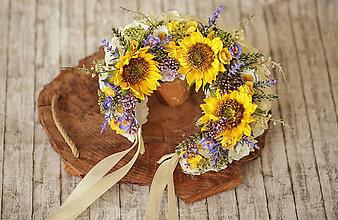 Ozdoby do vlasov - Slnečnicová svadobná kvetinová parta - 12325586_