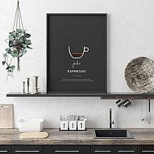 Grafika - KÁVA NA ŽELANIE, minimalistický print čierny - 12323876_