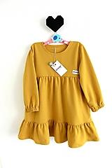 Detské oblečenie - Horčicové voľné šaty - 12322440_