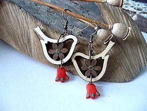 Náušnice - náušnice folk vtáčiky s tulipánmi - 12324111_