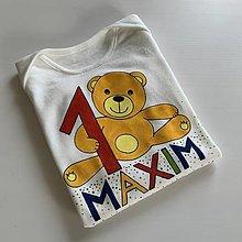 Detské oblečenie - Maľované body k 1. narodeninám (S mackom) - 12323545_