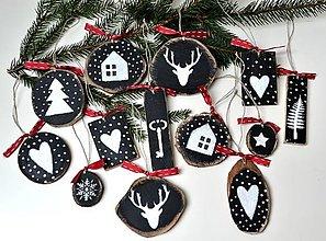 Dekorácie - Vianočné ozdoby-drevené-sada 13 kusov - 12323931_