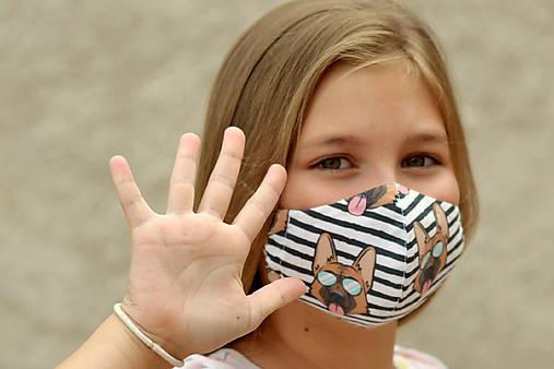 VLČIAK ~ dizajnové rúško 5 veľkostí ~ antibakteriálne dvojité na filter