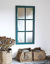 Zrkadlá - Tyrkysové zrkadlo zo starého okna - 12327735_