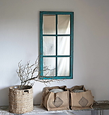 Zrkadlá - Tyrkysové zrkadlo zo starého okna - 12327736_