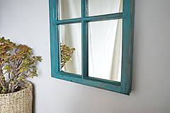 Zrkadlá - Tyrkysové zrkadlo zo starého okna - 12327737_