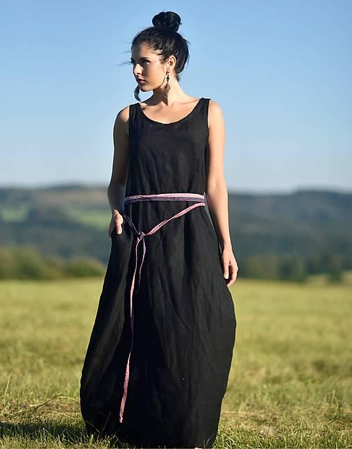 Šaty - Lněné maxi šaty Noir - 12327975_