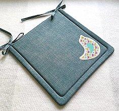 Textil - Podsedák na školskú stoličku  tyrkysový (vtáčik) - 12329881_