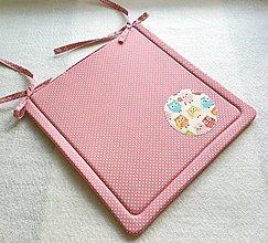 Textil - Podsedák na školskú stoličku č.13 (malé bodky so sovičkami) - 12329922_