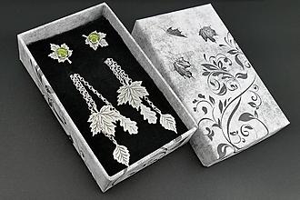 Náušnice - Listové napichovačky (Napichovačky s peridotmi aj s visiacimi lístkami) - 12329159_