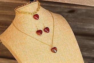 Sady šperkov - Súprava náušnice, náramok a retiazka s minerálom jaspis - 12329831_