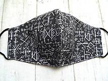 Rúška - Bavlnené rúška... pánske (Aztécke písmo na čiernej) - 12332173_