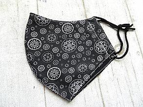 Rúška - Bavlnené rúška... pánske (Mandaly na čiernej) - 12332164_