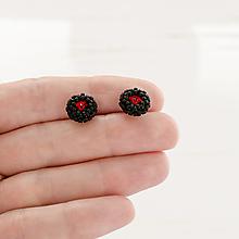 Náušnice - šité náušnice MINI SW6 (čierna,červená - Ag 925) - 12331242_