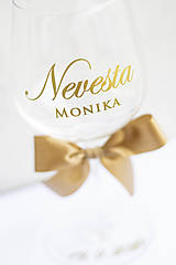 Papiernictvo - Nevesta / Ženích + meno - nálepka na svadobný pohár - 12332488_