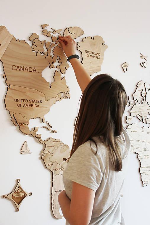 Dekorácie - Drevená Mapa Sveta - 12332190_