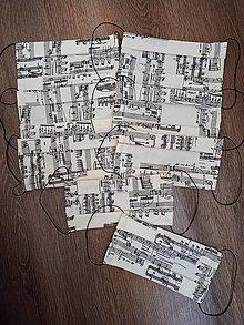 Rúška - Bavlnené rúško noty - 12331360_