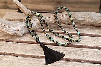 Náhrdelníky - Náhrdelník so strapcom a minerálmi turmalín a africký tyrkys - 12331685_