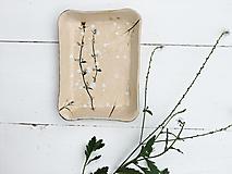 Nádoby - Keramická bylinková prírodná tácka - 12336492_