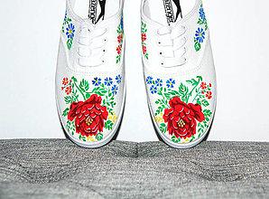 Obuv - plátenky s kvetinovým vzorom - 12335882_
