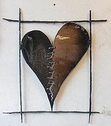 Socha - Srdce Zošívané Broken Heart Brown I MMXX  PREDANÉ - 12335643_