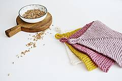 Úžitkový textil - Chňapka EXTRA hrubá - ružová/horčicová - 12335956_
