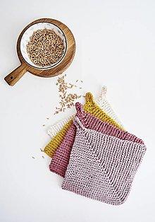 Úžitkový textil - Chňapka EXTRA hrubá - ružová/horčicová - 12335964_