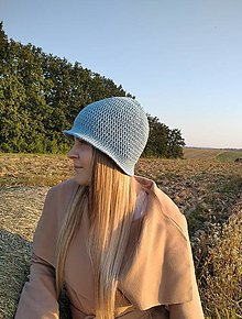 Čiapky - Háčkovaný klobúk v šedomodrej - 12336809_