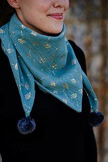 Detské doplnky - Mušelínový šálik- gold dandelion green - 12337281_