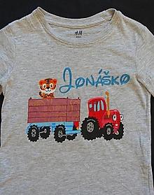 Detské oblečenie - Maľované tričko traktor - 12334463_