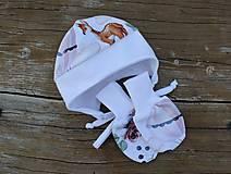 Detské čiapky - Čiapka na uši pre bábätka - srnky - 12337112_