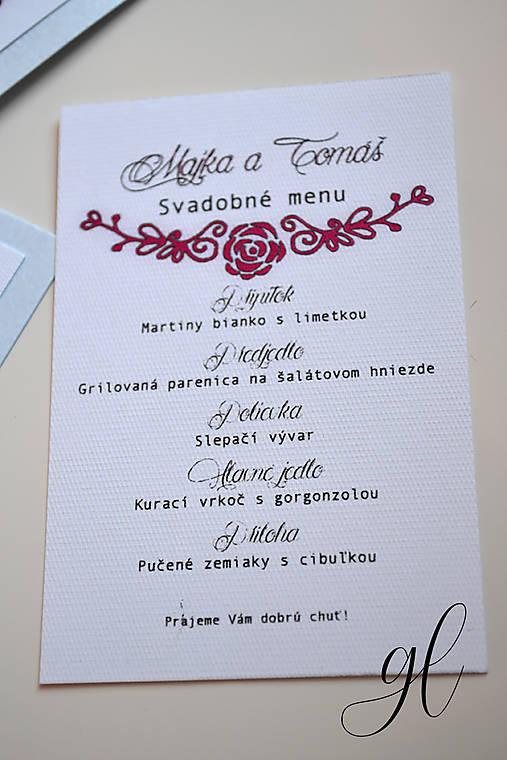 Svadobné tlačoviny kytica modrá (menu klassic)