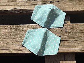 Rúška - XS-detské rúško -tyrkysová s bodkami - 12336203_