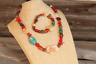 Sady šperkov - Súprava náhrdelníku a náramku z minerálov - 12335538_