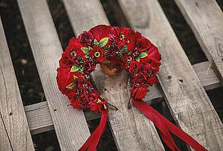 Ozdoby do vlasov - Ľudová kvetinová parta v červenom - 12340353_
