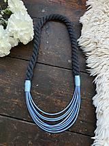 Náhrdelníky - Šedomodrý náhrdelník - 12339592_