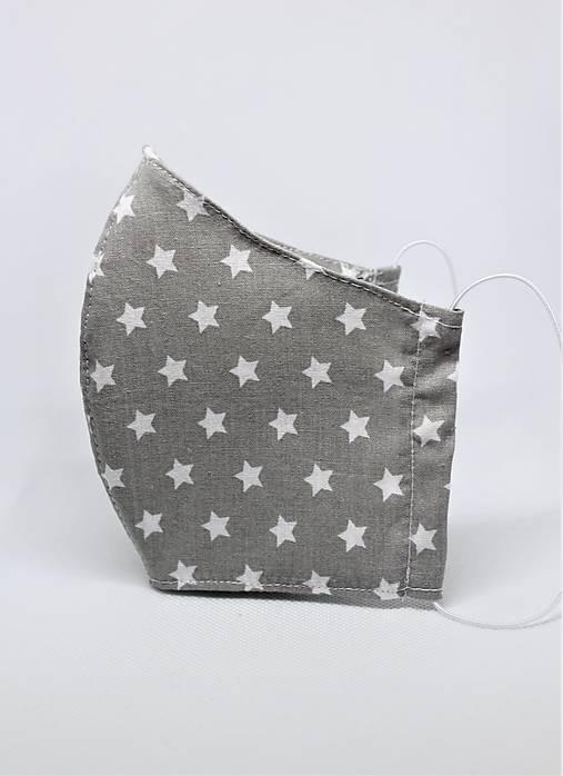 Tvarované rúško na tvár- šedé s bielymi hviezdičkami