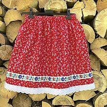 Sukne - Folklórna sukňa - Kvetka v červenom - 12340241_