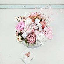 Detské doplnky - Plienková torta box mini ružové kvietky + DARČEK - 12338777_