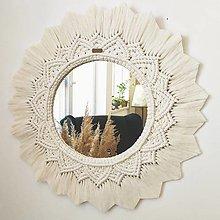 Zrkadlá - Macramé závesné zrkadlo  - 12339932_