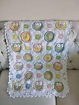 Úžitkový textil - Veselá sovičková deka + papučky - 12339181_