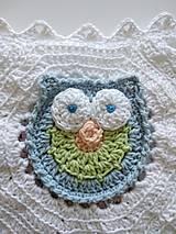 Úžitkový textil - Veselá sovičková deka + papučky - 12339320_