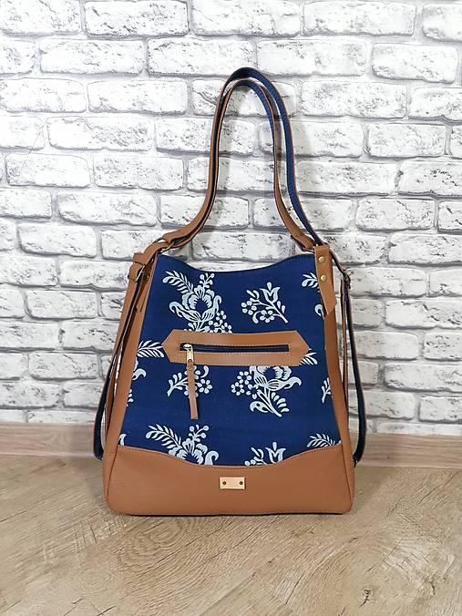 Modrotlačová kabelka a batoh v jednom Melisa 1