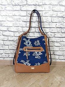 Veľké tašky - Modrotlačová kabelka a batoh v jednom Melisa 1 - 12338979_